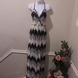 Dress The Population Gray, Blk & White Lace Dress